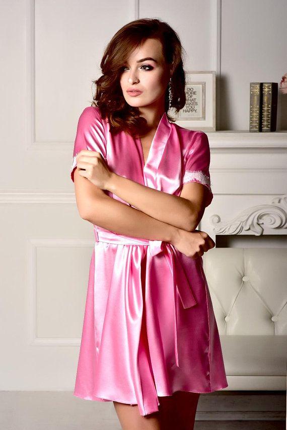 9aea8828afbf4 Pink robe Kimono robe Bridesmaid robe Lace robe Short sleeve robe Satin  robe Plus size robe Robes fo