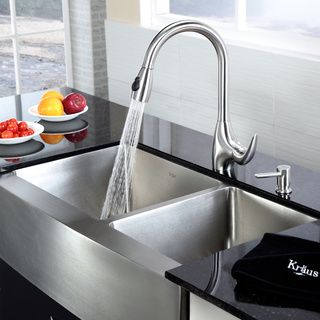 KRAUS 36 Inch Farmhouse Double Bowl Stainless Steel Kitchen Sink With  NoiseDefend Soundproofing By Kraus