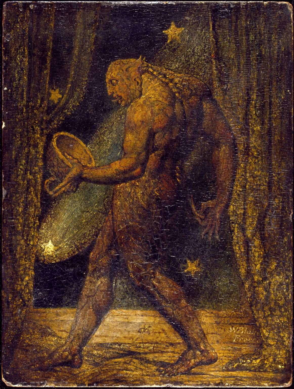 The Ghost of a Flea, c.1819–20, William Blake; (once shown as 'A Vampire') 'a cup in his hands to hold blood'. (Tate)