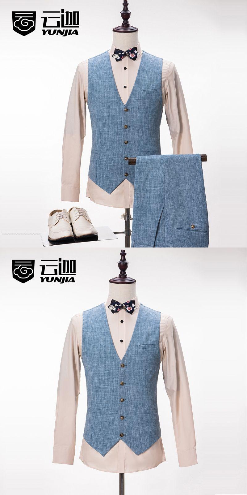 Custom High Quality Brand Men Vest Pants Light Blue Male Suit Pants ...