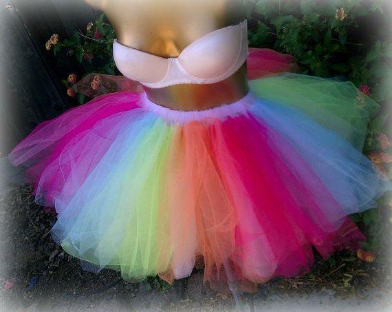 c39eada416 Adult tutu, color run, marathon running tutu, Adult tulle skirt, EDC, raver  rave outfit, gogo dancer, sweet 16 tutu, multi color tutu