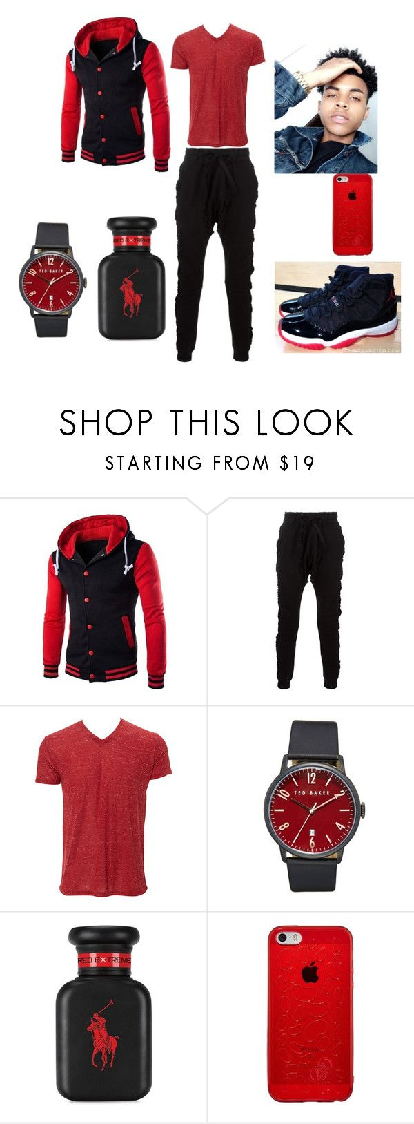 """""""red and black"""" by slay12 ❤ liked on Polyvore featuring Blood Brother, Simplex Apparel, Retrò, Ted Baker, Ralph Lauren, men's fashion and menswear"""
