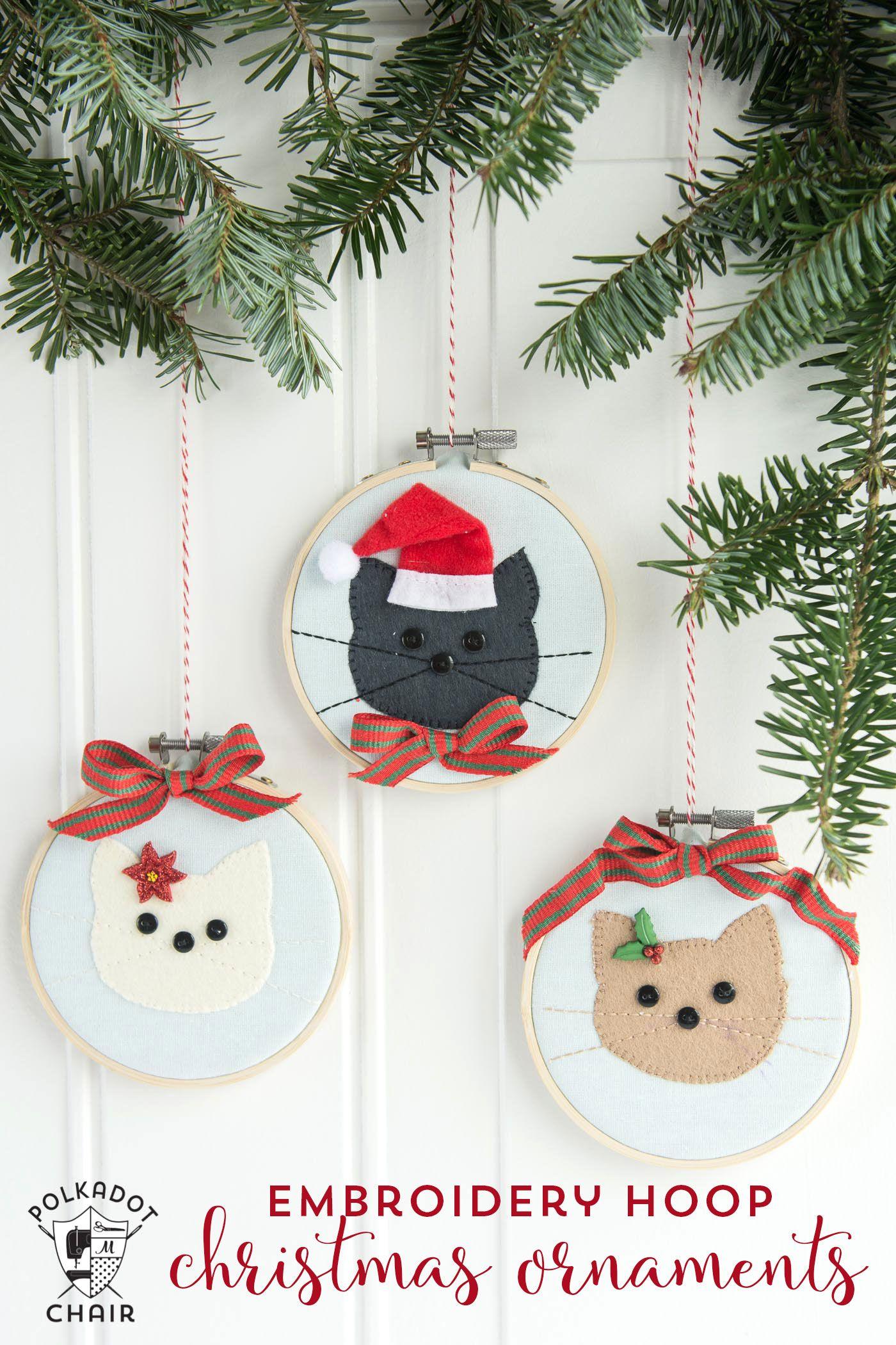 Cat Embroidery Hoop Christmas Ornaments | Navidad, Bordado y Costura
