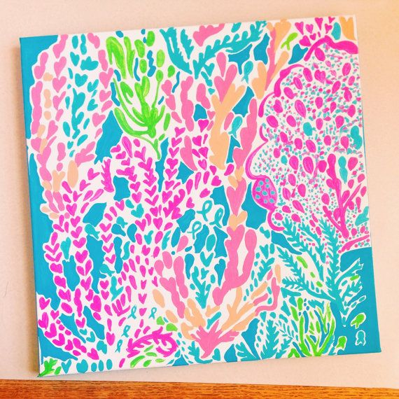 bf4dd6c32079dd Lilly Pulitzer Inspired Let's Cha Cha Painting by PreppyAsAlways, $30.00