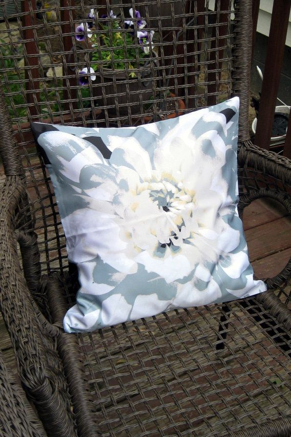 Black and White Large Flower Throw Pillow Cover by BettyinParis, $20.00