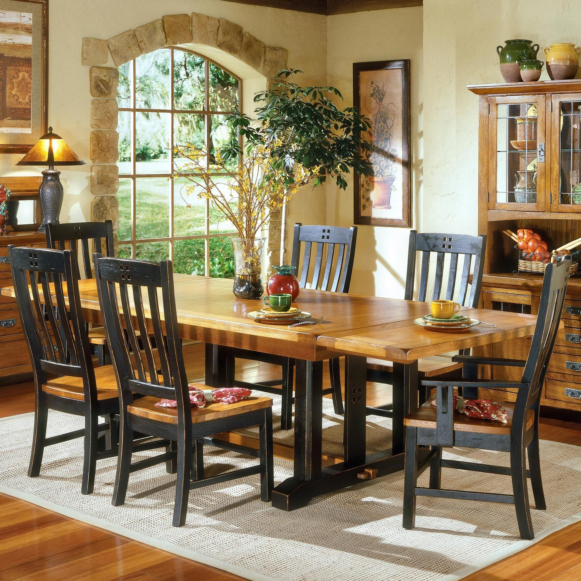 Intercon Rustic Mission Refectory Dining Table Sheely S Furniture