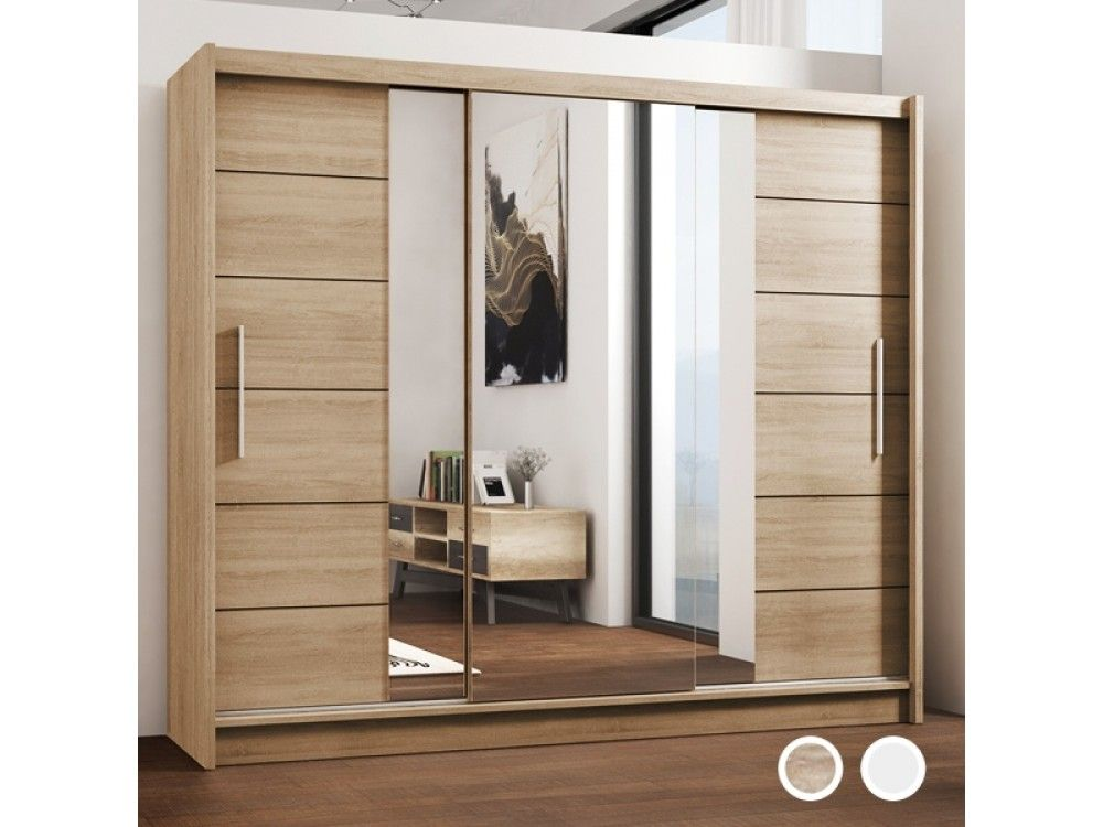 Lizbona Large Sliding Door Wardrobe Oak And White Large Wardrobe Closet Sliding Doors Bedroom Decor