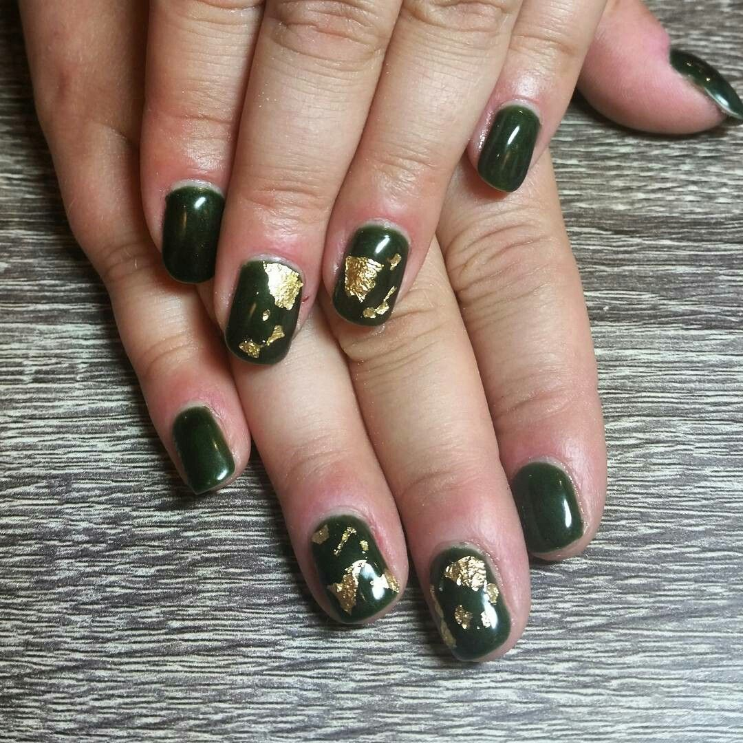 Dark green with gold foil. Fall nails. Nails by Ailesh | Nails ...