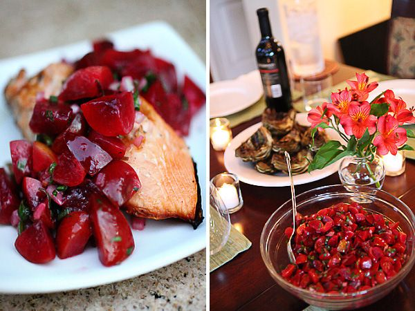 grilled salmon with spicy plum salsa