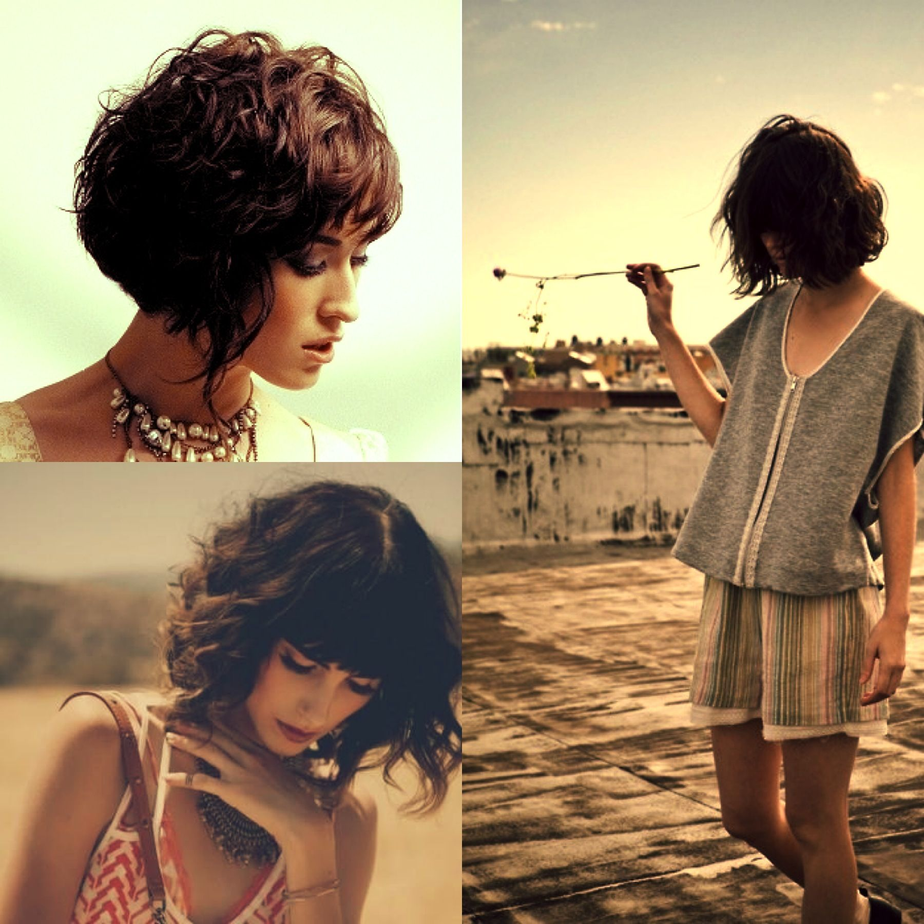 Wavy curly bob with bangs hair inspirations pinterest curly