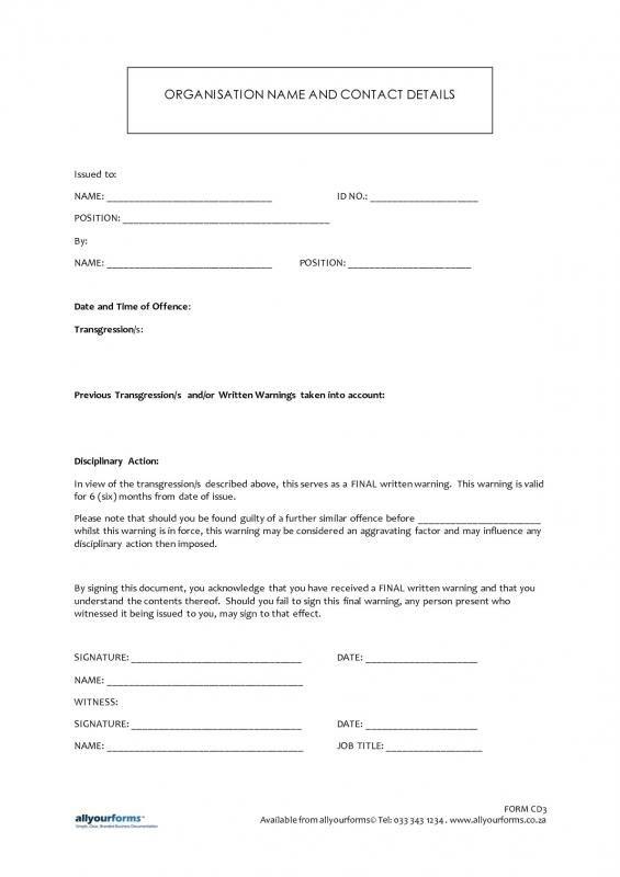Employee Written Warning Template template Pinterest Template - employee payroll sheet template