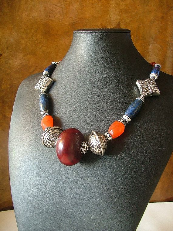 The Zara African Amber Lapis and Carnelian Necklace by Vivant, $72.00