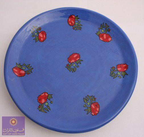 صحن مصنوع من الفخار مستوحى من قماش الشالكي يدوي فخار فنون التراث الرياض جده Tableware Plates