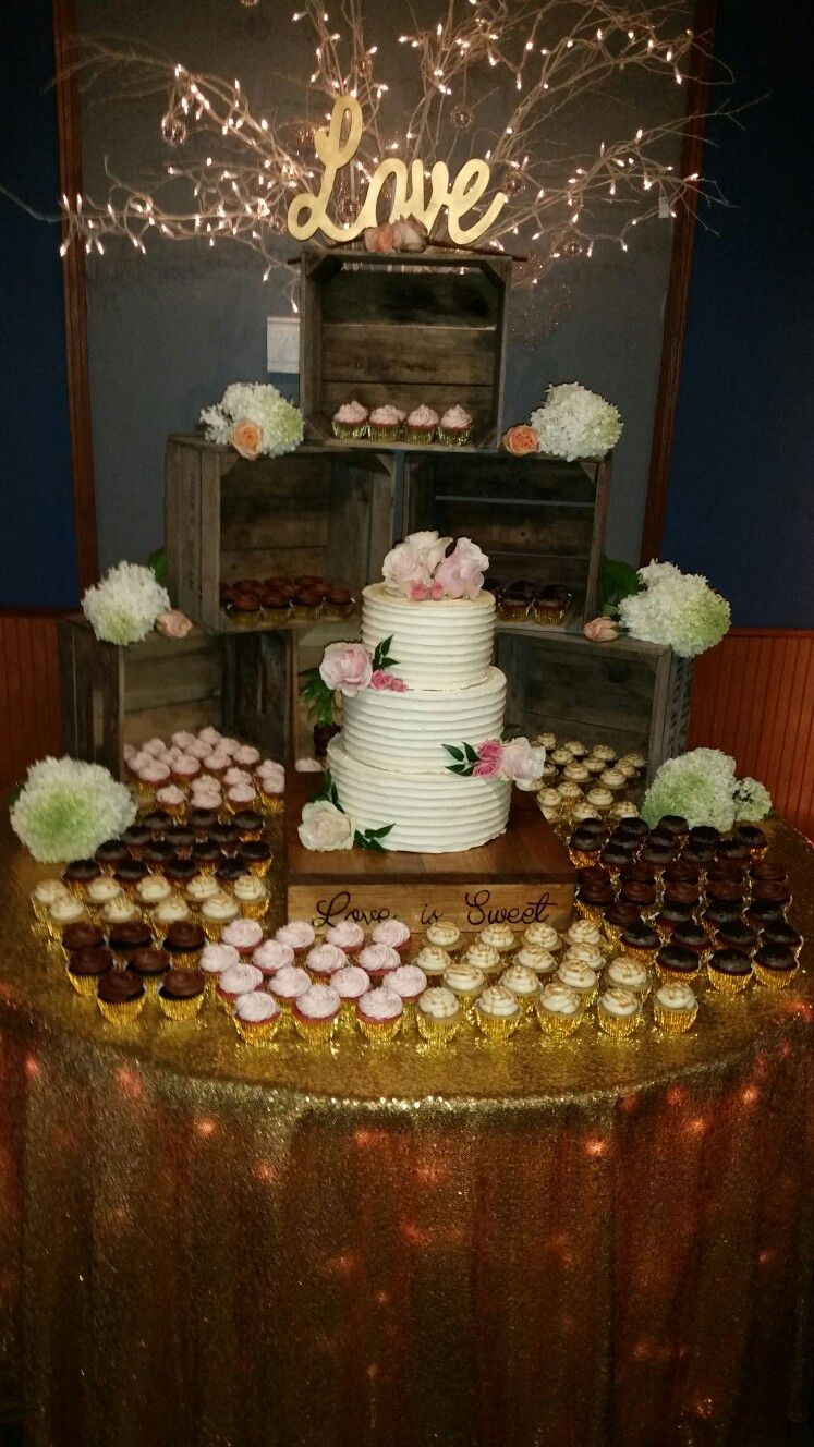 Cake And Cupcake Table At Dusseau S With Images Sunflower