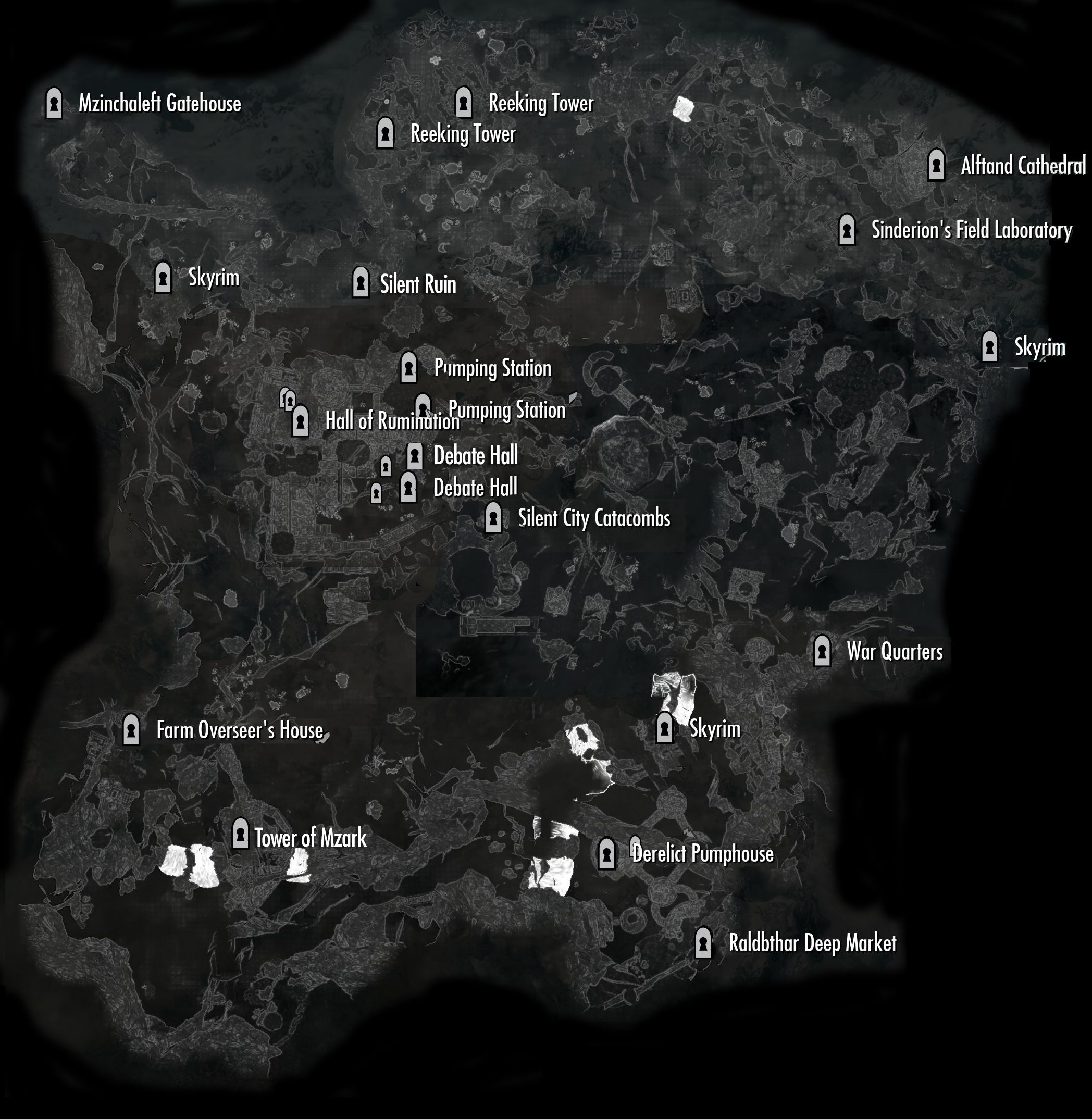 Map of Blackreach access points; I must go back... I need this!!! I got lost so many times!