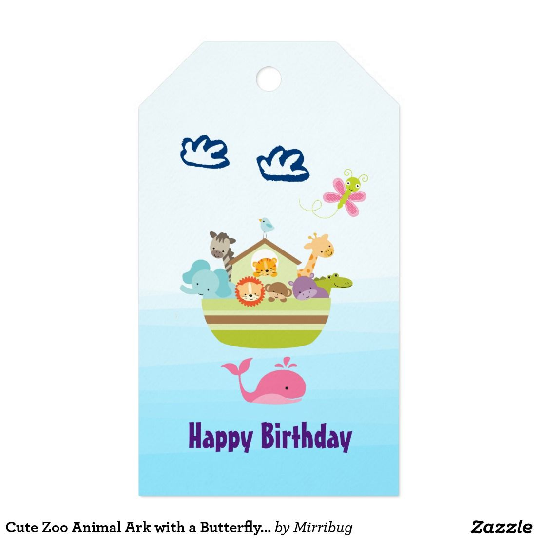 Cute Zoo Animal Ark with a Butterfly and Whale Gift Tags