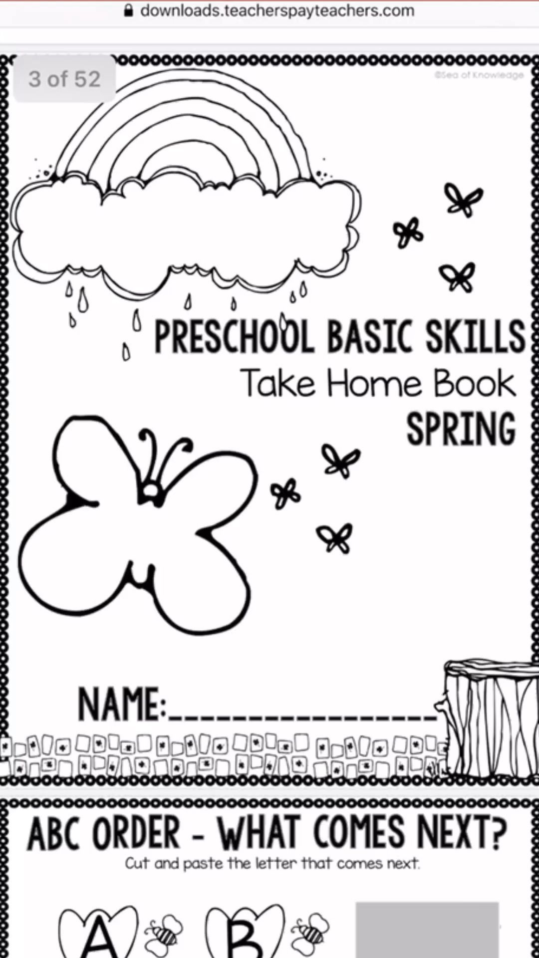 Preschool Worksheets Take Home Packet For Spring 4 Year