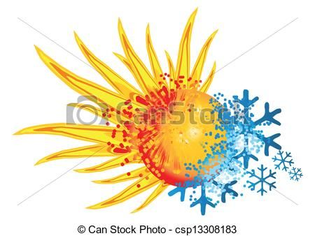 Vector Of Logo Hot And Cold With An Explosion Of Fire And Ice