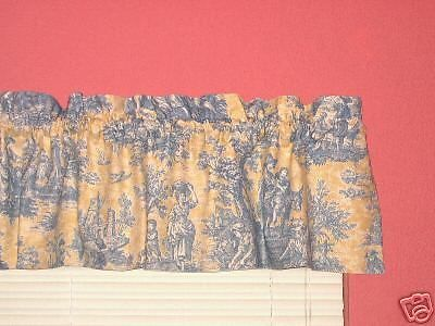 Waverly Yellow Blue French Country Life Toile Valance Discontinued Fabric Balloon Valance Red Curtains Valance Curtains