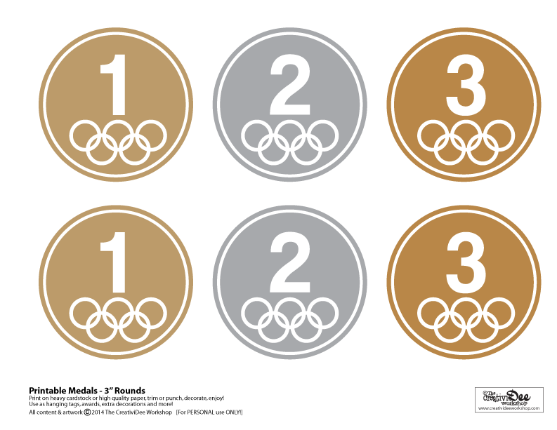 picture about Printable Medals referred to as Absolutely free Printable Olympic Medals - The CreativiDee Workshop