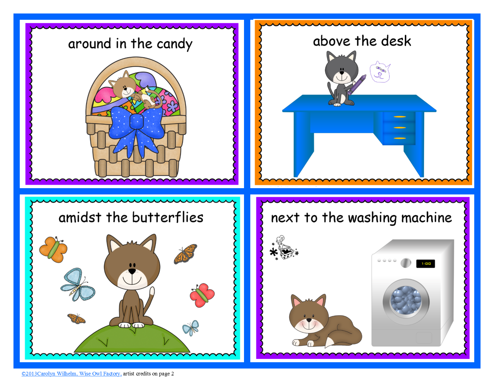 Free Cat Theme Prepositional Phrases Posters And Game