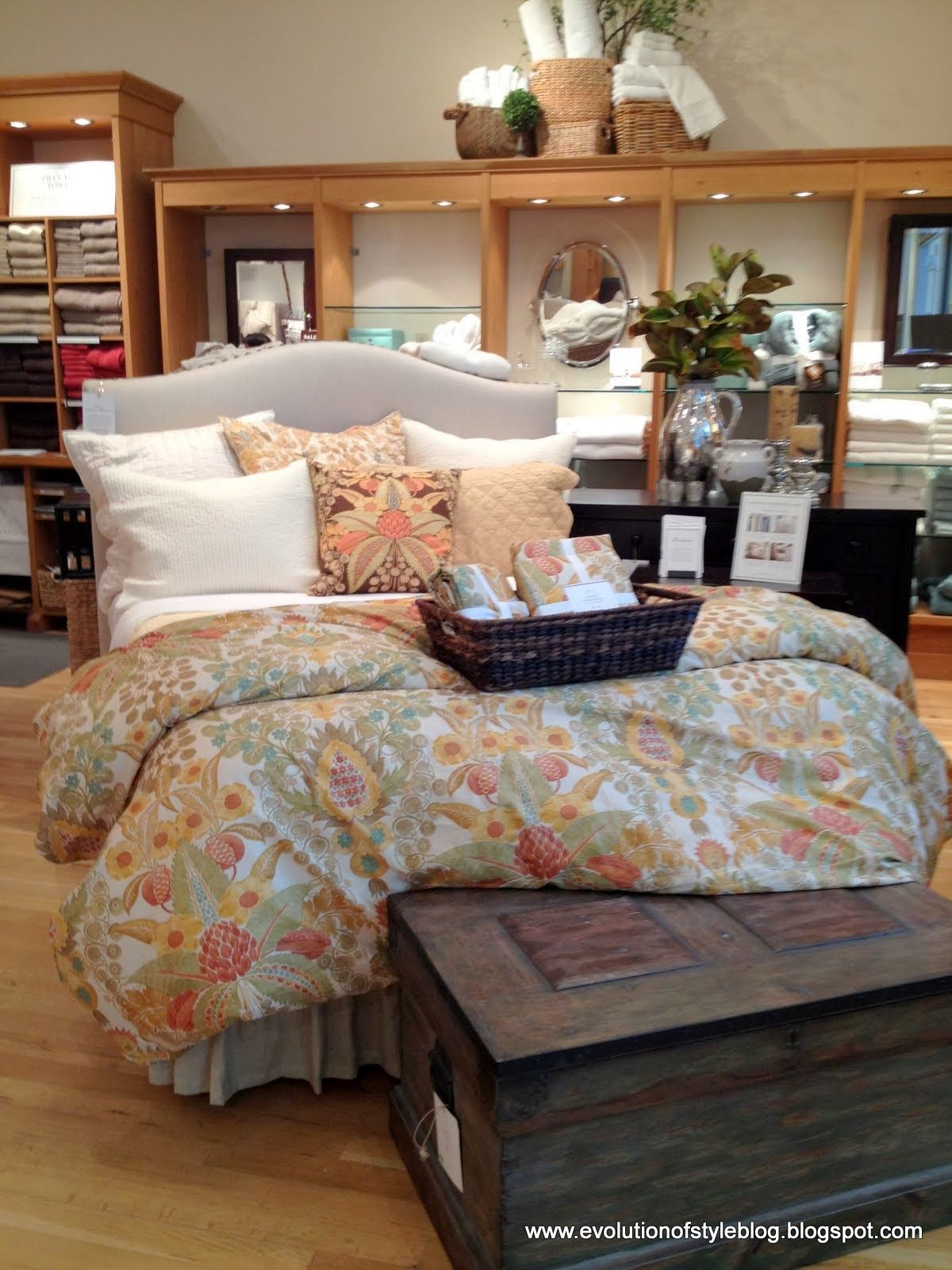 Classic Fall Season Bedroom Design with Amazing Bed Furniture have Soft Gray Headboard and Beautiful Flower Patterns Ideas for Fall Season Bedroom Design