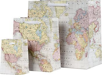 World map gift bags wedding party favor ideas pinterest world map gift bags gumiabroncs Images