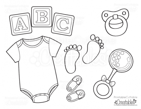 Baby Onesie Free Printable Coloring Page Gender reveal