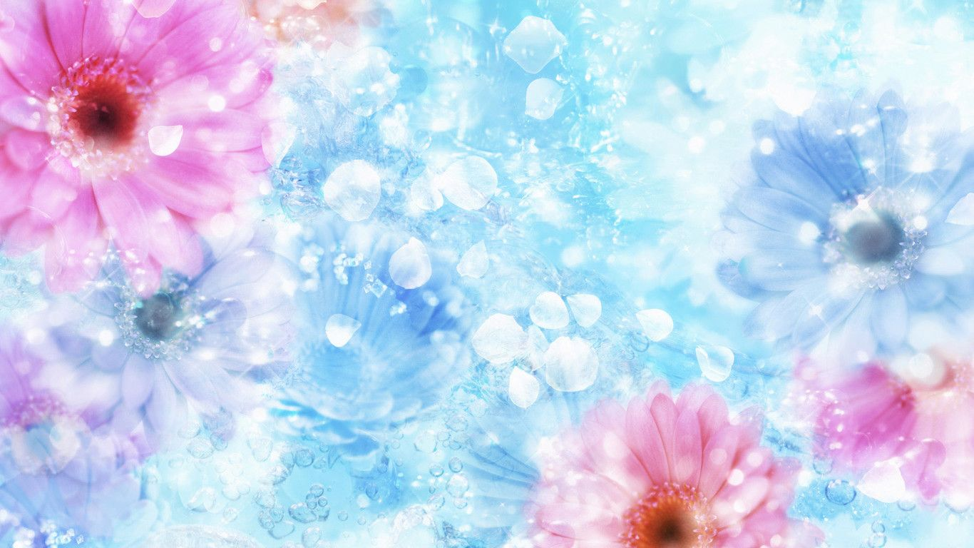 Wallpaper Download 1366x768 Flowers And Crystals In The Water Hd Spring Wallpaper Beautiful Flowers Flower Wallpaper Free Flower Wallpaper Special Wallpaper