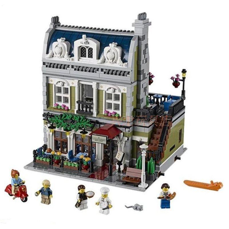 2418ピースdhl lepin 15010エキスパート目抜き通りパリレストランモデル構築キットブロック玩具互換10243
