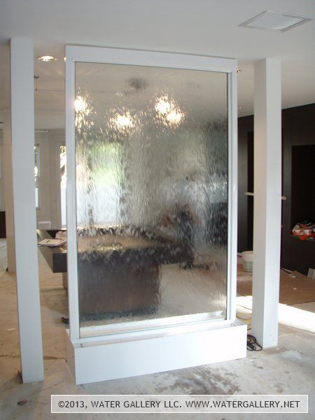 Water Gallery Custom Glass Waterfall With White Frame Glass