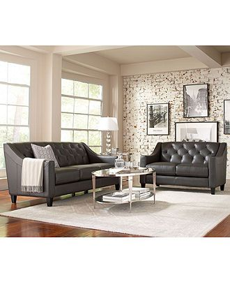 I really like this style Claudia II Leather Sofa Living Room