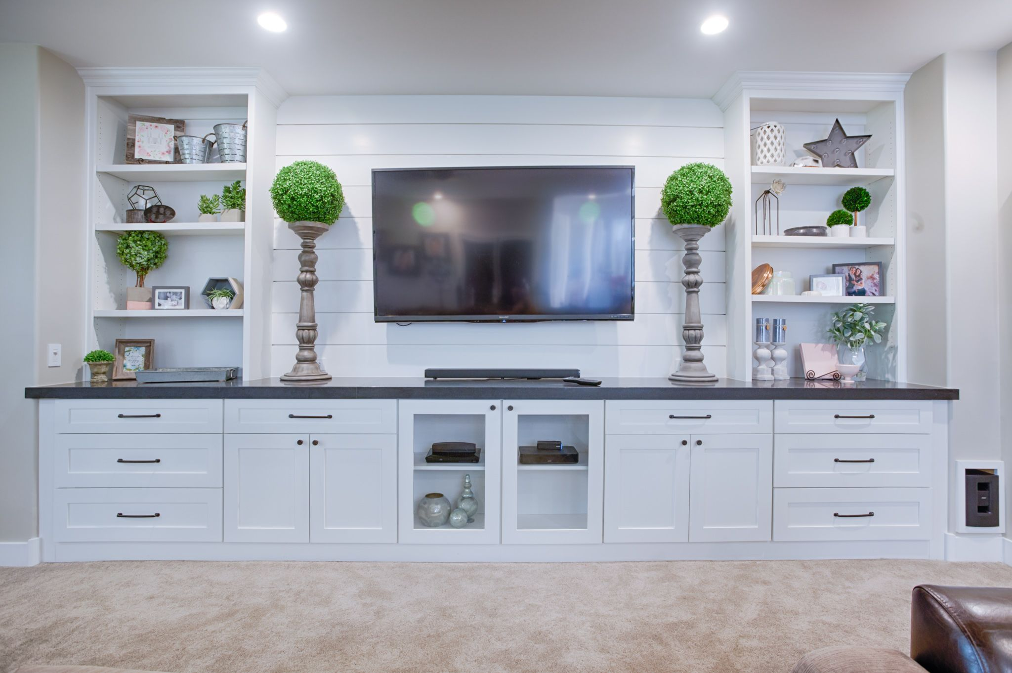 These Sundance Frost Shaker Style Cabinets Are Shown In This Beautiful Enterta Living Room Entertainment Center Living Room Entertainment Living Room Built Ins