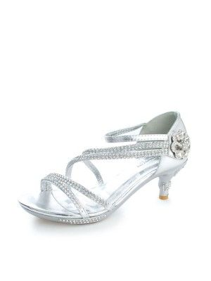 619ece249315 Silver Gorgeous Rhinestones Girls Kitten Heel Shoes (Sizes Kids 9- Youth 4)