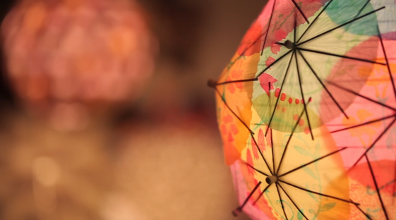 easy Chinese Lantern made from cocktail umbrellas