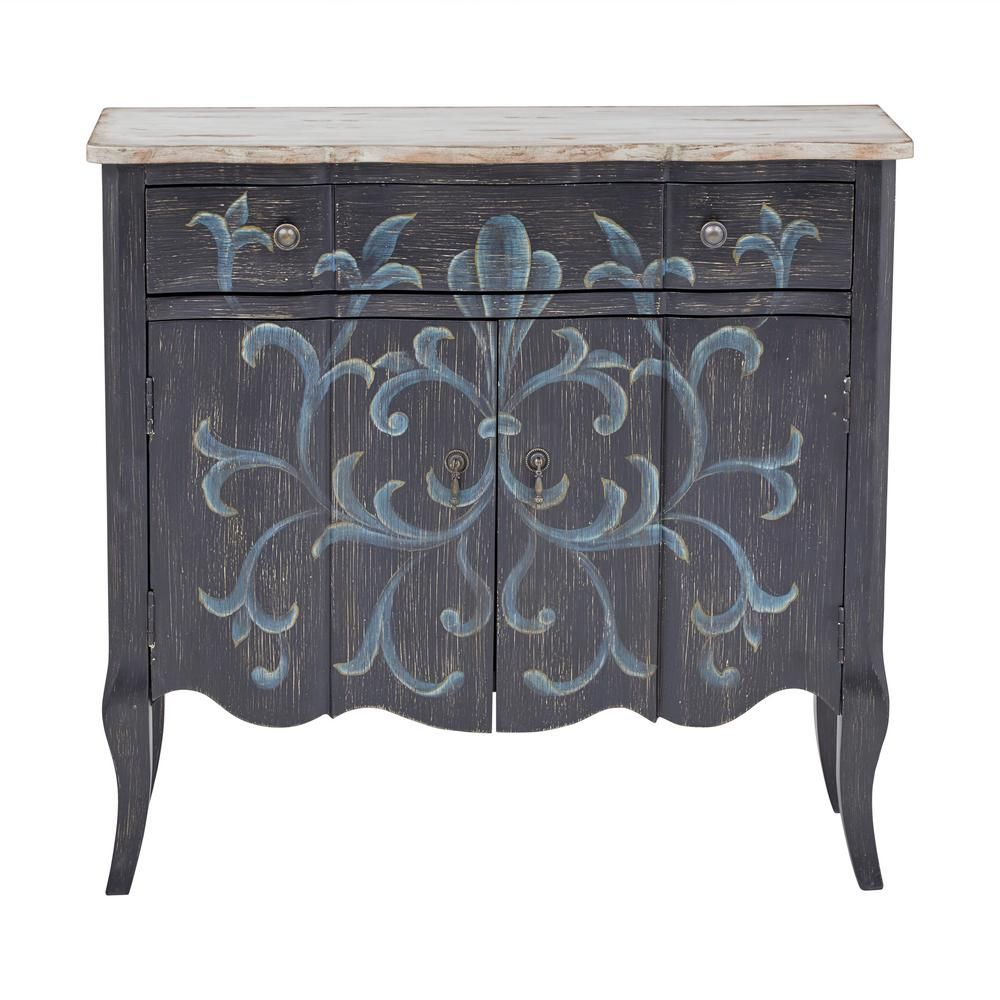 Homefare Handpainted Weathered Black Parisian 2 Door Hall Chest Ds