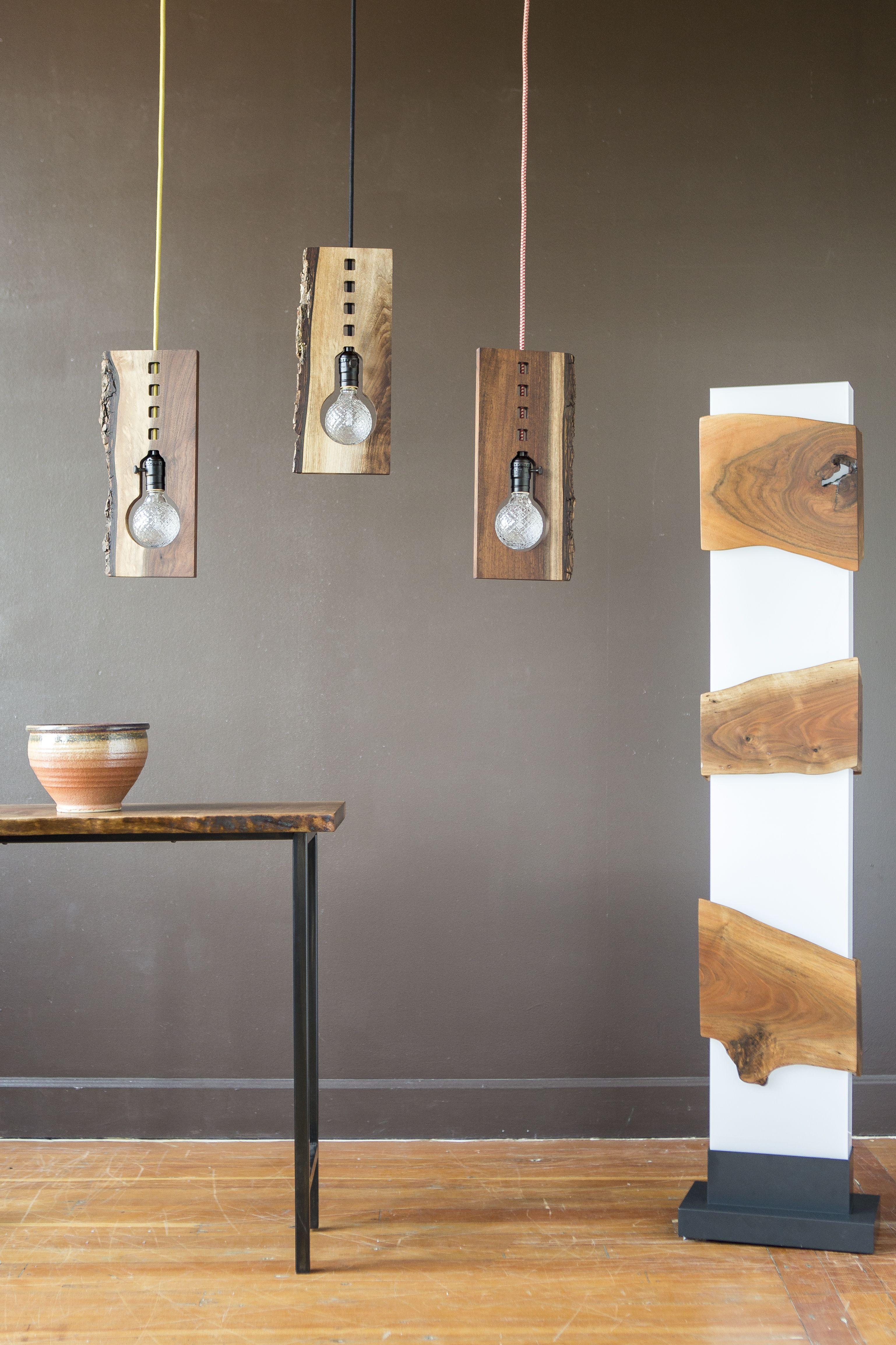 handmade lighting design. Black Walnut, Live Edge Lighting By Kayla Burke Design :: Handmade O