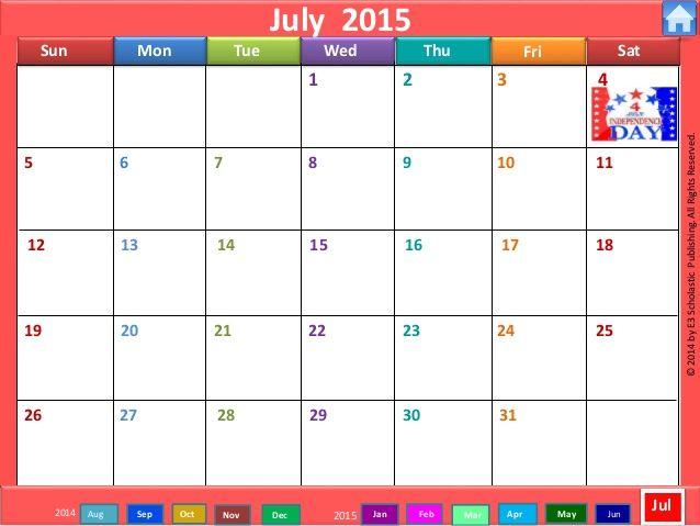 Cute July Calendar 2015