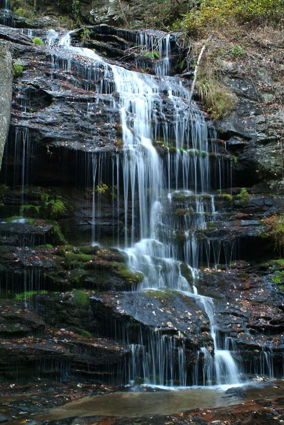 Hike and Traverse the Cables to Dennis Cove Falls | Hiking ... |Small Cove Waterfall