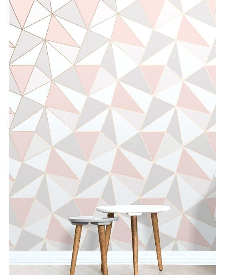 Rosa Und Graue Tapete Dekoration Ideen Tapete Schlafzimmer Geometrische Tapete Tapete Grau
