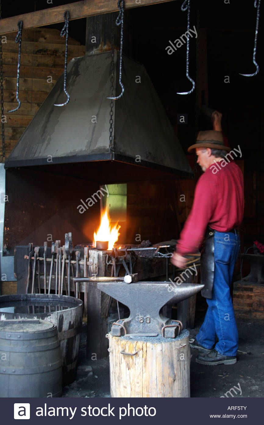 Blacksmith at work barkerville canada stock photo with