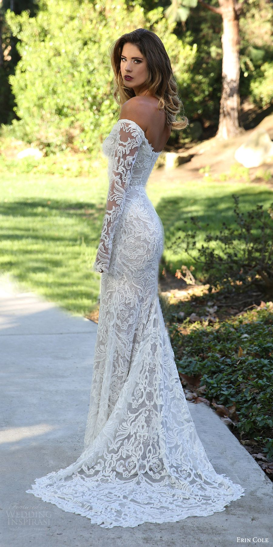 Erin Cole Fall 2017 Bridal Off Shoulder Long Sleeves Beaded Lace Sheath Wedding Dress Antoinette Mv Pointed Train Elegant More