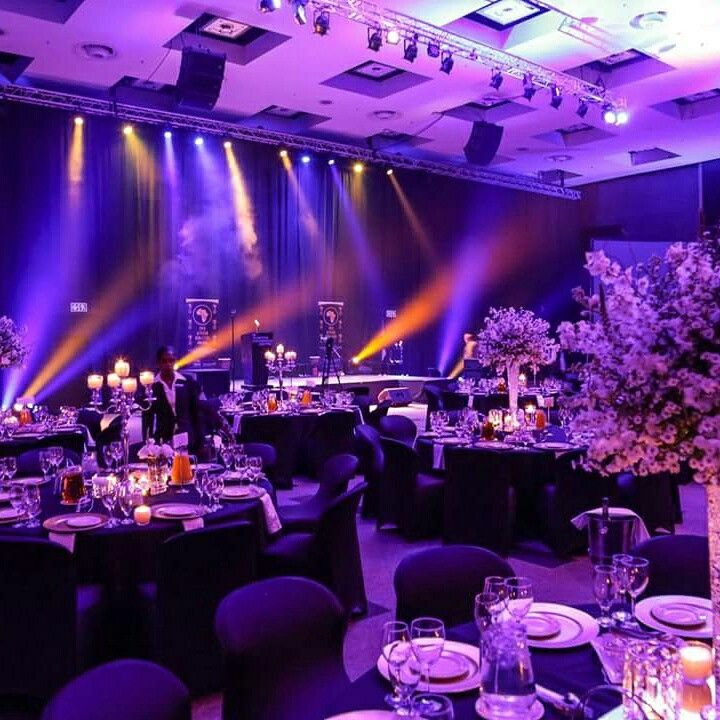 Corporate night awards ceremony lighting ambiance tall for Award ceremony decoration ideas