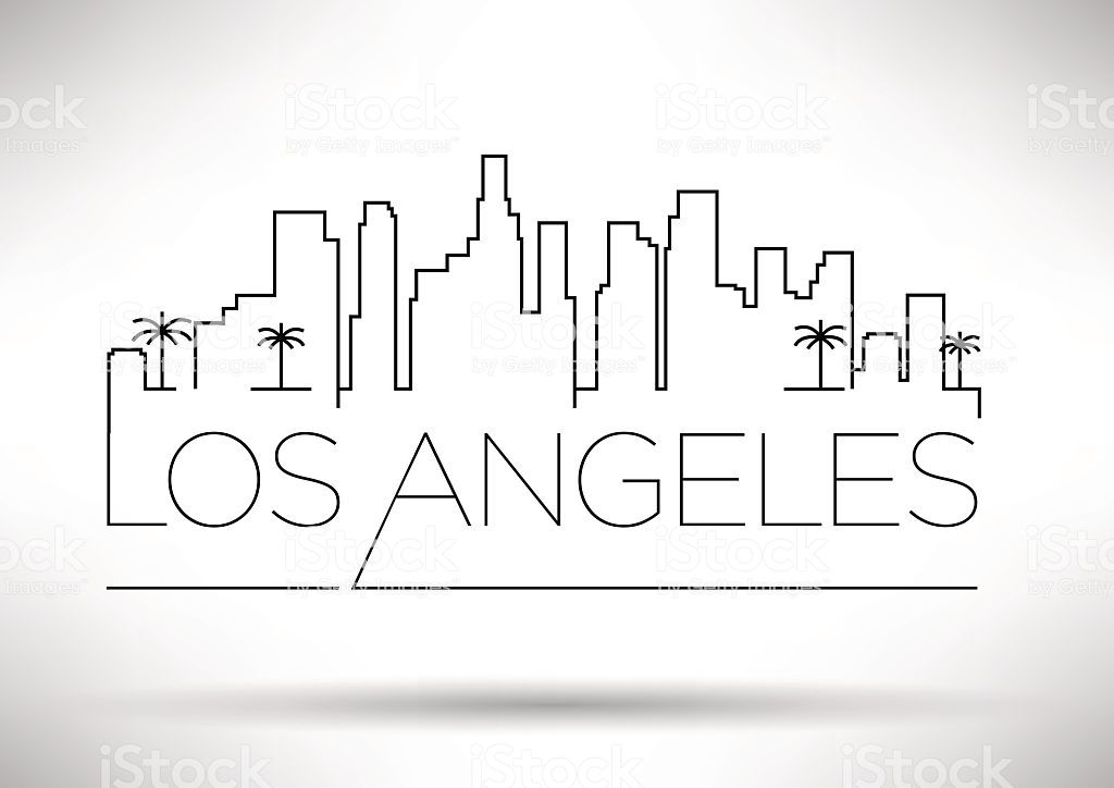 Los Angeles City Line Silhouette Typographic Design Royalty Free Los Angeles City Line Silhouette Typographic Design City Outline City Drawing Skyline Drawing
