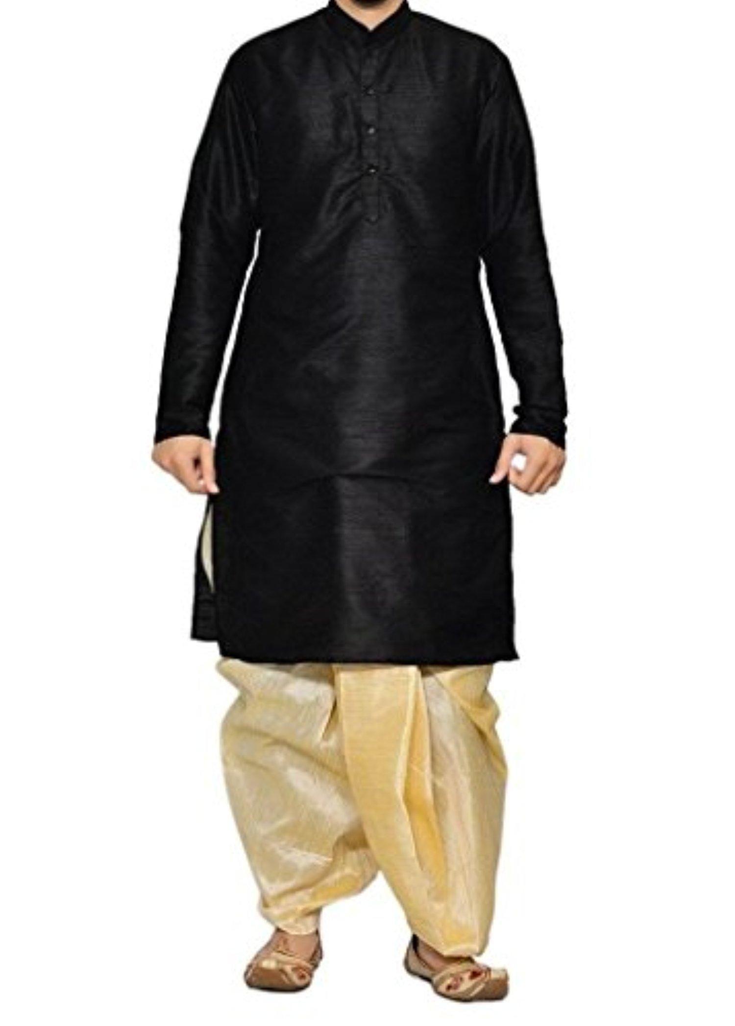 584334bfc2 Royal Kurta Men's Designer Silk Blend Dhoti Kurta 44 Black - Brought to you  by Avarsha.com