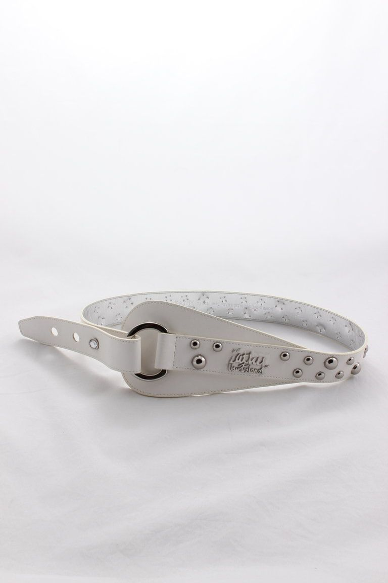 -Embellished with silver studs   -3 hole with Jewel Button  -Label on Front  Approx 40 inches in Length