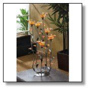 Amber Calla Lilly Flower Bunch Tealight Candle Holder
