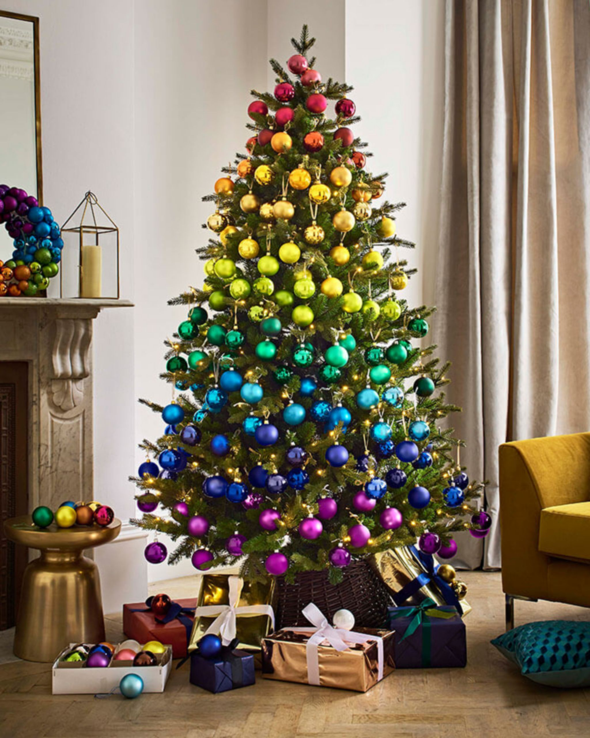 Love This Idea For Creating A Rainbow Christmas Tree With Bands Of Colour From Top To Bottom Rainbow Christmas Tree Rainbows Christmas Colorful Christmas Tree