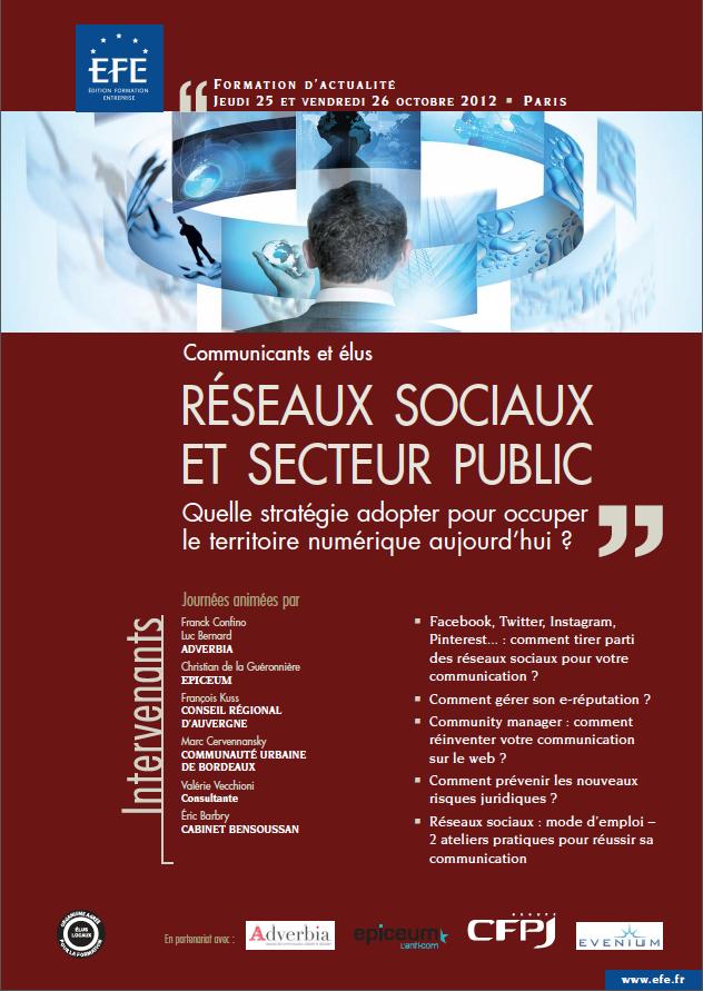 """Formation """"Réseaux sociaux et secteur public - Quelle stratégie adopter pour occuper le territoire numérique aujourd'hui ?"""" les 25 et 26 septembre prochain."""