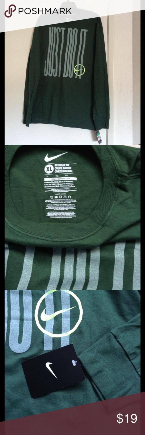 Men's Nike Long Sleeve Tee Forrest green Dri fit Regular t-shirt Nike Shirts Tees - Long Sleeve